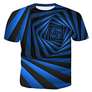 Ανδρικά T-shirt Βαμβάκι Ριγέ / Γεωμετρικό / 3D Στρογγυλή Λαιμόκοψη Στάμπα Θαλασσί XL