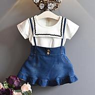 Dzieci Dla dziewczynek Aktywny / Moda miejska Patchwork Falbana / Patchwork Krótki rękaw Regularny Jedwab wiskozowy Komplet odzieży Niebieski
