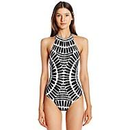 สำหรับผู้หญิง พื้นฐาน สีดำ Cheeky ชิ้นหนึ่ง ชุดว่ายน้ำ - รูปเรขาคณิต ลายพิมพ์ M L XL สีดำ