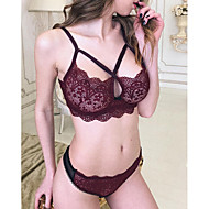 Normal Sexy Full Coverage Bras & Panties Sets Lace Bras Polyester