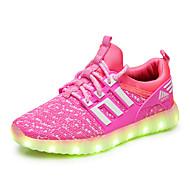 Genç Erkek / Genç Kız Ayakkabı Örgü Bahar Işıklı Ayakkabılar Spor Ayakkabısı LED için Siyah / Mavi / Pembe
