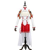 """billige -Inspirert av SAO Alicization Yuuki Asuna Anime  """"Cosplay-kostymer"""" Japansk Cosplay Klær Lapper Ermeløs Topp / Skjørte / Ermer Til Herre / Dame"""