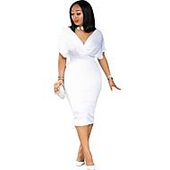 저렴한 -여성용 슬림 칼집 드레스 - 솔리드, 비즈 무릎길이 딥 V