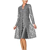 저렴한 -여성용 어머니를 위해서 레이스 투피스 드레스 - 솔리드, 레이스 무릎길이 V 넥