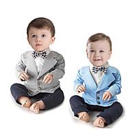 赤ちゃん 男の子 ヴィンテージ / ベーシック ソリッド リボン / フォーマル / バックル 長袖 コットン / ポリエステル ワンピース ブルー
