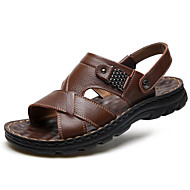 levne -Pánské Komfortní boty Nappa Leather Léto Sandály Černá / Světle hnědá / Tmavěhnědá