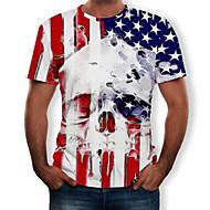 זול -קולור בלוק / 3D / גוגולות צווארון עגול טישרט - בגדי ריקוד גברים דפוס לבן US36
