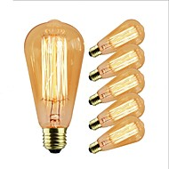 6PCS 40 W E26 / E27 ST58 المتوهجة خمر اديسون ضوء لمبة 220-240 V / 110-120 V