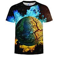 Herre - 3D / Grafisk Trykt mønster T-shirt Sort XXXXL