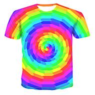 Tee-shirt Grandes Tailles Homme, Bloc de Couleur / 3D / Graphique Imprimé Chic de Rue / Punk & Gothique Col Arrondi Arc-en-ciel XXXXL