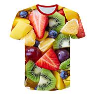 Herrn Einfarbig / 3D / Frucht - Street Schick / Übertrieben Klub / Strand Übergrössen T-shirt, Rundhalsausschnitt Druck Regenbogen XXXXL / Kurzarm