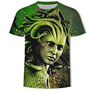 Tryck, Färgblock / 3D / Tecknat EU / US-storlek T-shirt Herr Rund hals Grön XXXXL