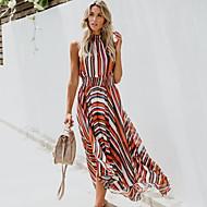 Women's Swing Dress - Striped Print Rainbow M L XL