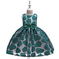 Kids Girls' Active Street chic Trees / Leaves Bow Embroidered Sleeveless Knee-length Dress Red