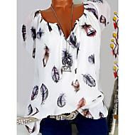 저렴한 -여성용 그래픽 V 넥 꽃 - 티셔츠 블랙 XXXL / 봄 / 여름 / 가을 / 겨울