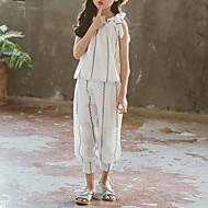 Kids Girls' Active Boho Striped Lace up Sleeveless Short Cotton Polyester Clothing Set White