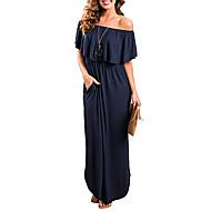 Mulheres Elegante Reto Vestido - Frufru, Sólido Ombro a Ombro Longo