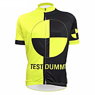 21Grams 남성용 짧은 소매 싸이클 져지 블랙 / 옐로우 노벨티 이상한 자전거 탑스 자외선 방지 통기성 모니스처 위칭 스포츠 테릴린 산악 자전거 로드 사이클링 의류 / 약간의 신축성 / 빠른 드라이 / 빠른 드라이 / 레이스 피트 / 이탈리아 수입 잉크