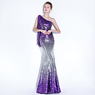 Mermaid / Trumpet One Shoulder Floor Length Sequined Formal Evening Dress with by LAN TING Express