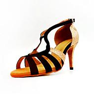 Femme Chaussures de danse Matière synthétique Chaussures Latines Talon Talon Cubain Personnalisables Noir et Or / Utilisation / Cuir / Entraînement