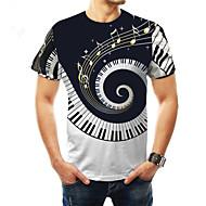 billige -Rund hals Store størrelser T-skjorte Herre - Fargeblokk, Trykt mønster Grunnleggende Svart / Kortermet