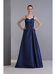cheap -A-Line Spaghetti Strap Floor Length Taffeta Bridesmaid Dress with Criss Cross by LAN TING BRIDE® / Open Back
