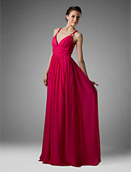 Sheath / Column V-neck Spaghetti Straps Floor Length Chiffon Bridesmaid Dress with Draping Ruching Pleats by LAN TING BRIDE®