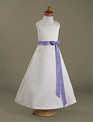 cheap -A-Line Princess Floor Length Flower Girl Dress - Satin Sleeveless Scoop Neck with Ribbon by LAN TING BRIDE®