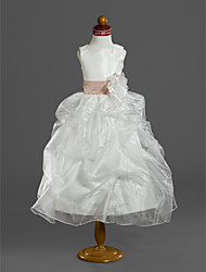 Robe de bal longueur de thé robe de fille fleur - satin sans manches scoop neck by lan ting bride®