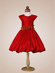 Un vestito dalla ragazza di fiore della lunghezza di ginocchio della principessa della linea - il collo del gioiello del taffettà da lan ting bride®