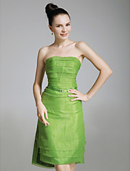 Sheath / Column Strapless Knee Length Organza Stretch Satin Holiday Dress with Sash / Ribbon by TS Couture®
