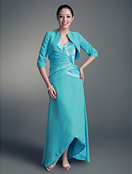 Linha A Sem Alças Decote Princesa Assimétrico Chiffon Cetim Vestido Para Mãe dos Noivos - Drapeado Lateral Broche de Cristal deLAN TING