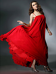 A-Line Spaghetti Straps Floor Length Chiffon Charmeuse Formal Evening Dress with Ruffles by TS Couture®
