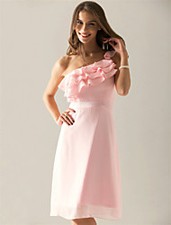 Sheath / Column One Shoulder Knee Length Chiffon Bridesmaid Dress with Side Draping by LAN TING BRIDE®