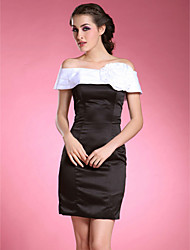 cheap -Sheath / Column Off-the-shoulder Short / Mini Satin Taffeta Mother of the Bride Dress with Flower by LAN TING BRIDE®