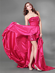 A-Line Strapless Court Train Taffeta Sequined Evening Dress with Draping by TS Couture®