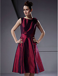 A-Line Princess Bateau Neck Knee Length Taffeta Bridesmaid Dress with Flower(s) by LAN TING BRIDE®
