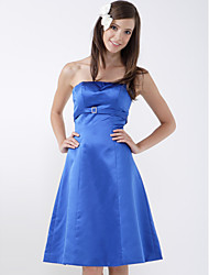 A-Line Princess Strapless Knee Length Satin Bridesmaid Dress with Crystal Detailing by LAN TING BRIDE®