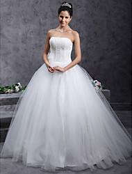 De Baile Sem Alças Longo Tule Vestido de casamento com Miçangas Flor de LAN TING BRIDE®