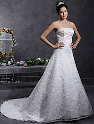 cheap -A-Line Princess Strapless Court Train Lace Wedding Dress with Beading Lace by LAN TING BRIDE®