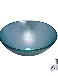 Недорогие -Синий, круглый сосуд для раковины из закаленного стекла с монтажным кольцом и стоком для канализации