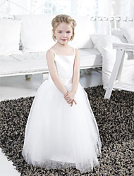 cheap -Ball Gown Floor Length Flower Girl Dress - Satin / Tulle Sleeveless Spaghetti Strap with Draping / Sash / Ribbon / Ruffles by LAN TING BRIDE® / Spring / Summer / Fall / Winter / First Communion