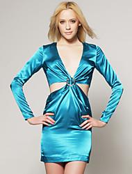 cheap -Women's Club Street chic Slim Sheath Dress - Solid Colored Cut Out Mini Deep V / Spring / Summer