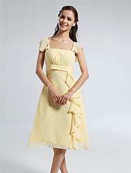 cheap -A-Line Straps Knee Length Chiffon Bridesmaid Dress with Draping Ruffles by LAN TING BRIDE®