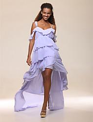 preiswerte -A-Linie Spaghetti-Träger Asymmetrisch Chiffon Cocktailparty Ball Kleid mit Seitlich drapiert Rüschen durch TS Couture®