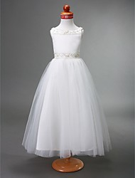 A-Line Floor Length Flower Girl Dress - Tulle Sleeveless Bateau Neck by LAN TING BRIDE®