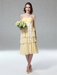 cheap -Sheath / Column Spaghetti Strap Tea Length Chiffon Bridesmaid Dress with Sash / Ribbon by LAN TING BRIDE® / Color Block