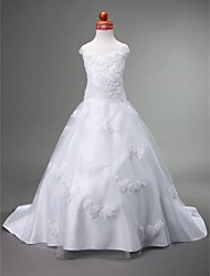 A-Line Court Train Flower Girl Dress - Satin Tulle Sleeveless Sweetheart Straps with Appliques by LAN TING BRIDE®