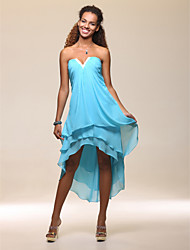 cheap -Sheath / Column Strapless Notched Tea Length Asymmetrical Chiffon Holiday Dress with Beading by TS Couture®
