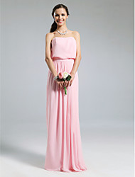 cheap -Sheath / Column Strapless Floor Length Chiffon Bridesmaid Dress with Pleats by LAN TING BRIDE®